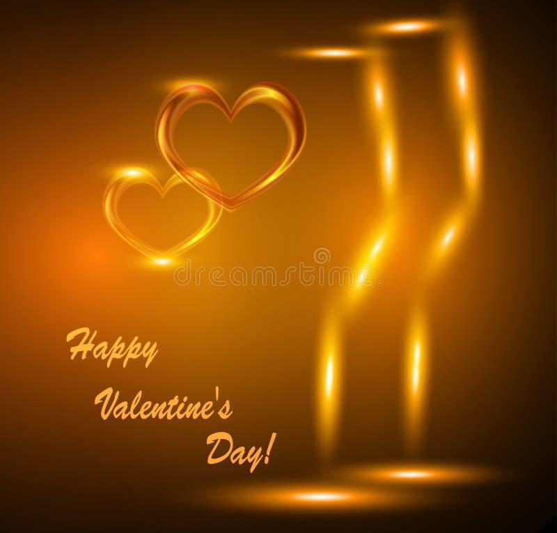 De Dagkaart van Valentine met twee glazen wijn en harten stock illustratie