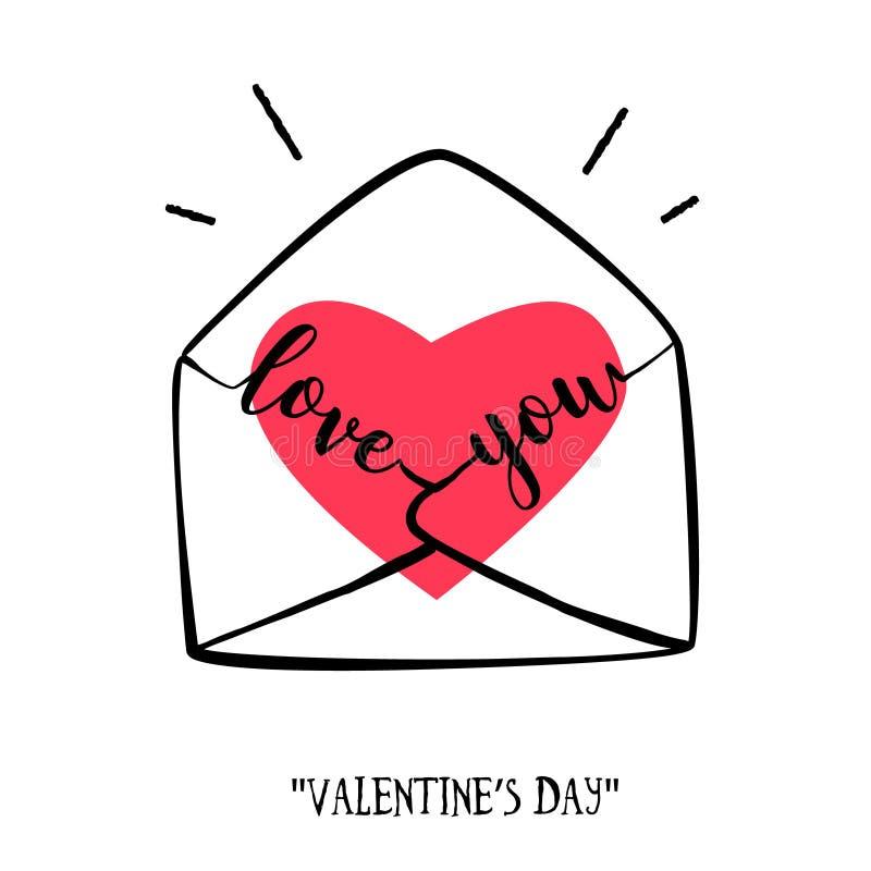 De dagkaart van Valentine ` s in krabbelstijl Hand-drawn envelop met hart en het van letters voorzien vector illustratie
