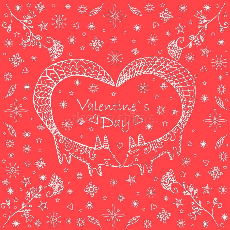De dagkaart van Valentine s, krabbelstijl Leuke etnische twee vossen stock illustratie