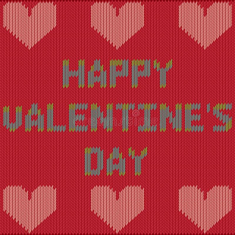 De Dagkaart van Valentine ` s met gebreide teksten stock foto