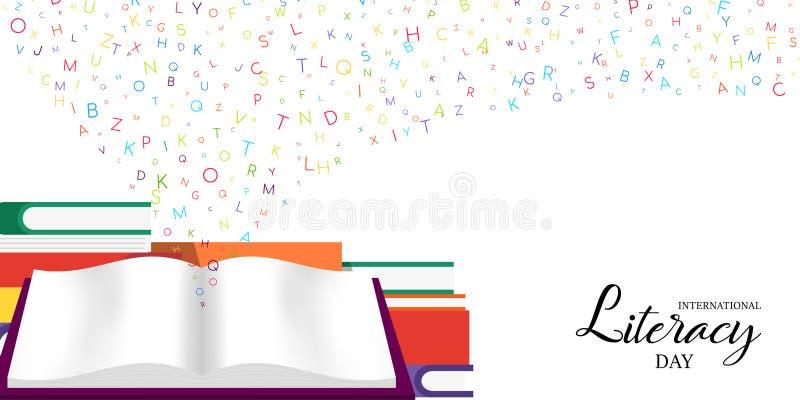 De Dagkaart van de wereldgeletterdheid van schoolboeken voor jonge geitjes vector illustratie