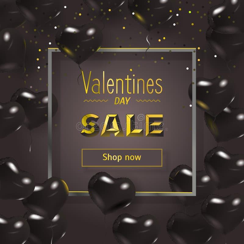 De Dagontwerp van gelukkig Valentine Zwarte achtergrond met rode harten Grens met tekst en ballons Huwelijk over affiche royalty-vrije illustratie