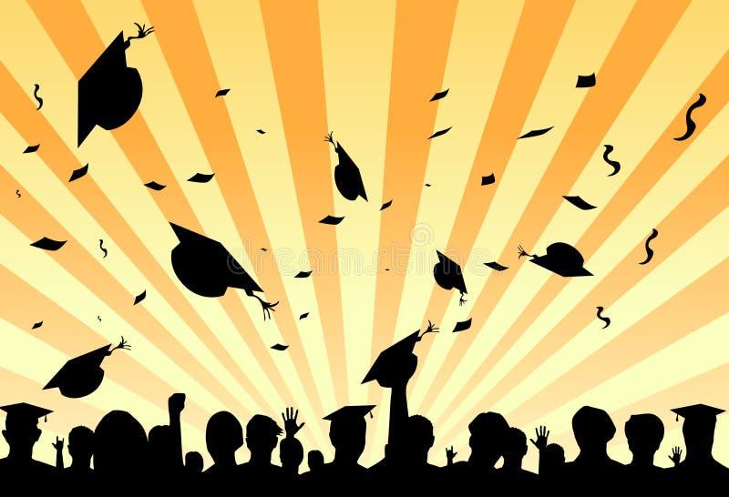 De dagpartij van de graduatie door studenten stock illustratie