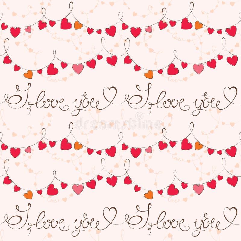 De dagpatroon van Valentine met hart royalty-vrije illustratie