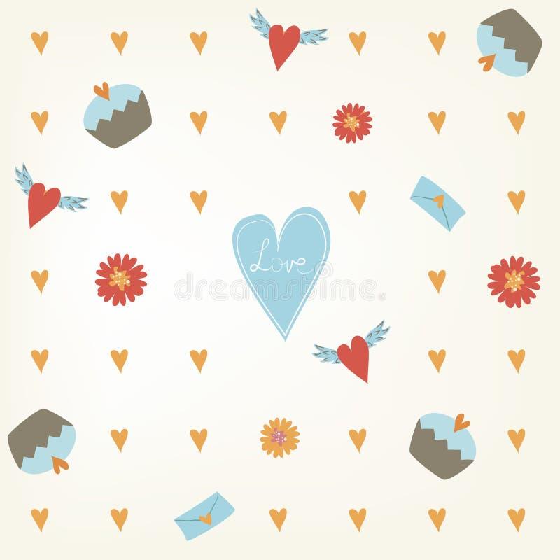 De Dagpatroon van zoet naadloos Valentine Tegelachtergrond met harten cupcakes en bloemen Hand getrokken het verpakken document t royalty-vrije illustratie
