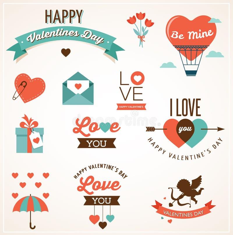 De dagpictogrammen, het van letters voorzien en elementen van Valentine vector illustratie