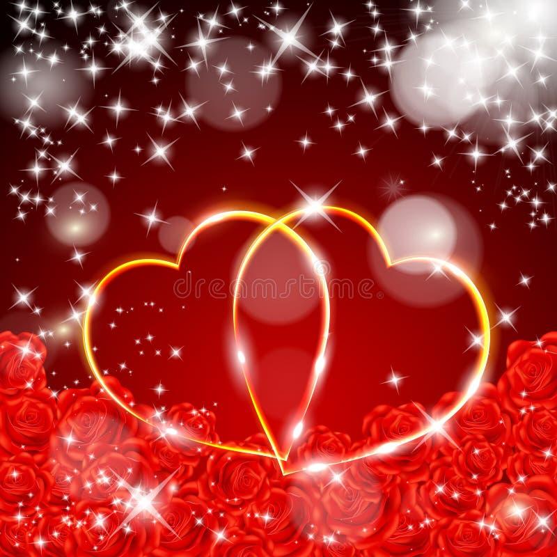 De dagprentbriefkaar van de rode Valentijnskaart royalty-vrije illustratie