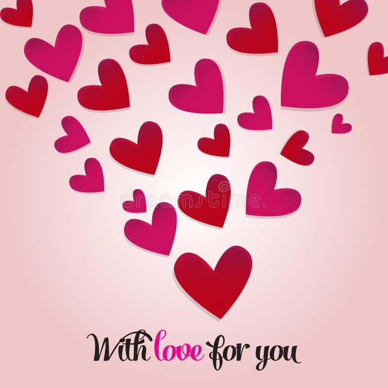 De dagprentbriefkaar van gelukkig Valentine met vele rode harten De dag van de valentijnskaart `s Roze achtergrond Vector stock illustratie