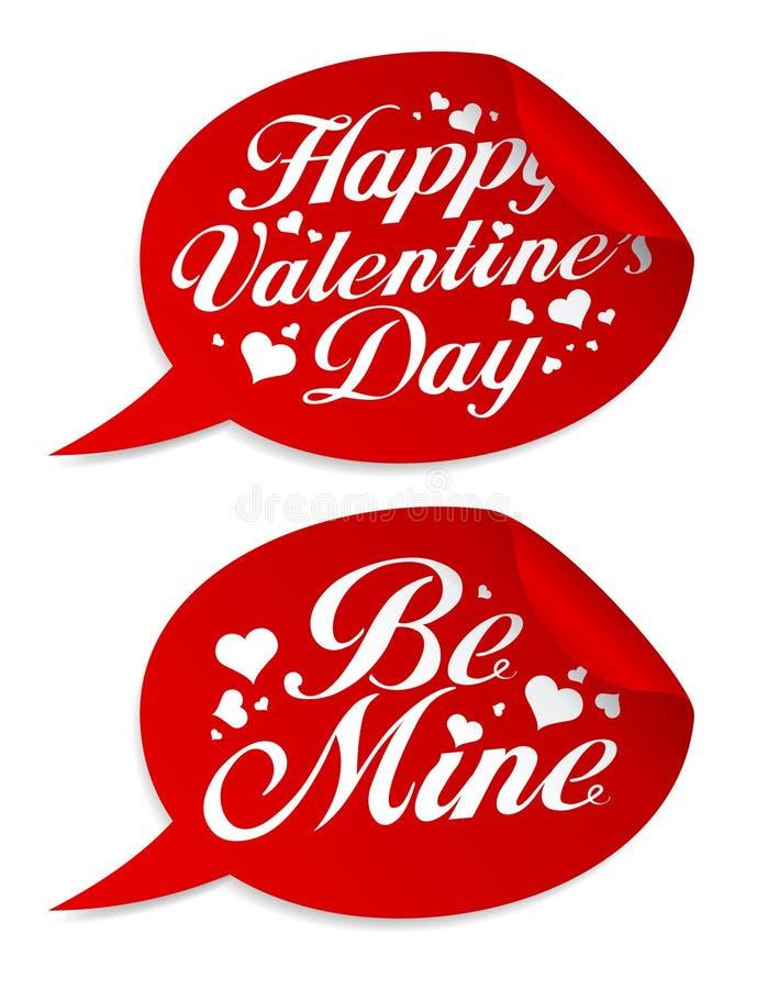 De dagstickers van de valentijnskaart `s. royalty-vrije illustratie