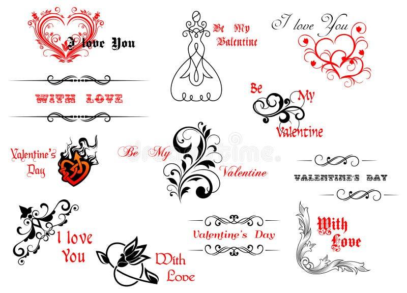 De dagsymbolen en kopballen van Valentine royalty-vrije illustratie