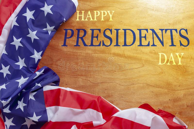 De Dagtekst van gelukkige Voorzitters op houten met vlag van de Grens van Verenigde Staten royalty-vrije stock foto