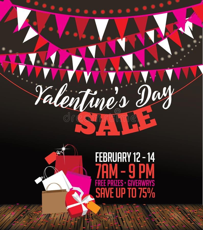De dagverkoop van Valentine bunting en het winkelen zakachtergrond stock illustratie