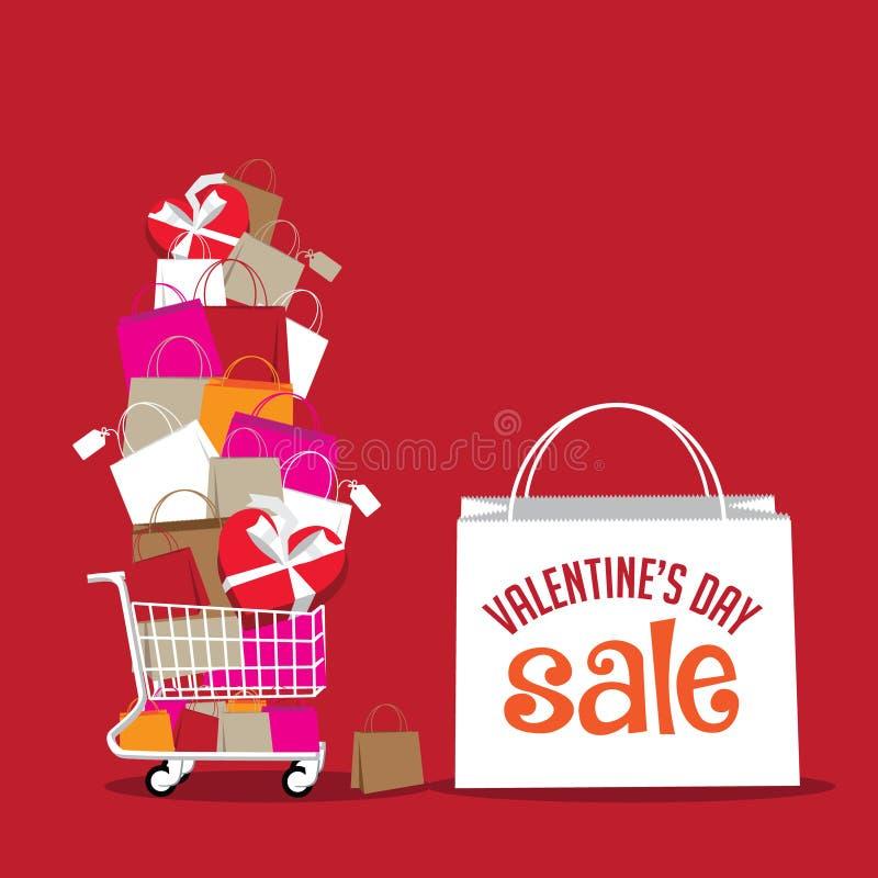 De dagverkoop van Valentine het winkelen zakachtergrond royalty-vrije illustratie