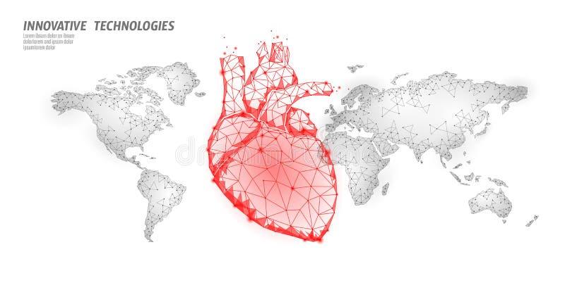 De dagvoorlichting van de wereldhartaanval De affichemalplaatje van de gezondheidsgeneeskunde rood veelhoekig hart op de globale  stock illustratie
