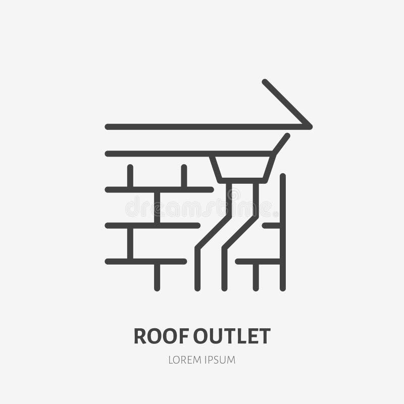 De dakafzet, voert vlak lijnpictogram af Het teken van de huisbouw Dun lineair embleem voor de diensten van de huisreparatie royalty-vrije illustratie