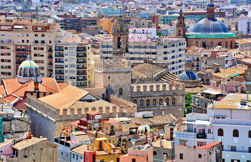 De daken van Valencia stock afbeeldingen