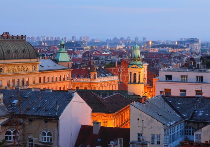 De daken van Zagreb stock afbeelding