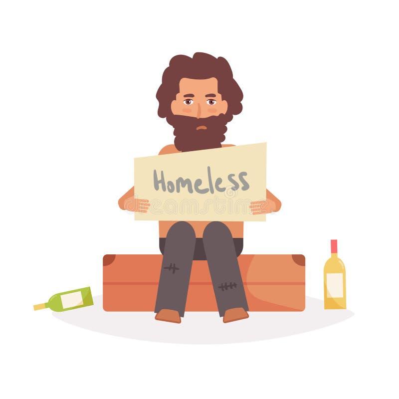 De dakloze mens zit op een koffer stock illustratie