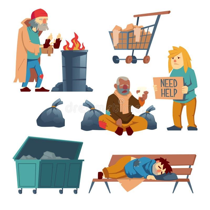 De dakloze vectorset van tekens van het bedelaarsbeeldverhaal royalty-vrije illustratie