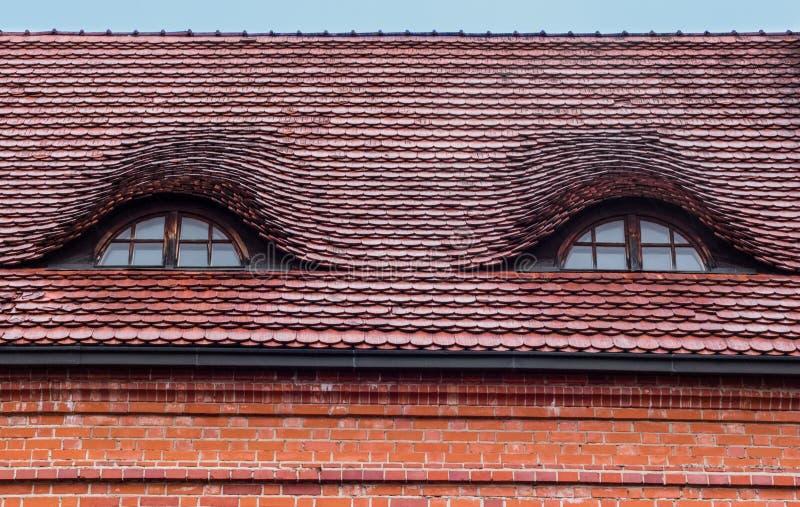 De dakvensters zijn als ogen stock afbeeldingen