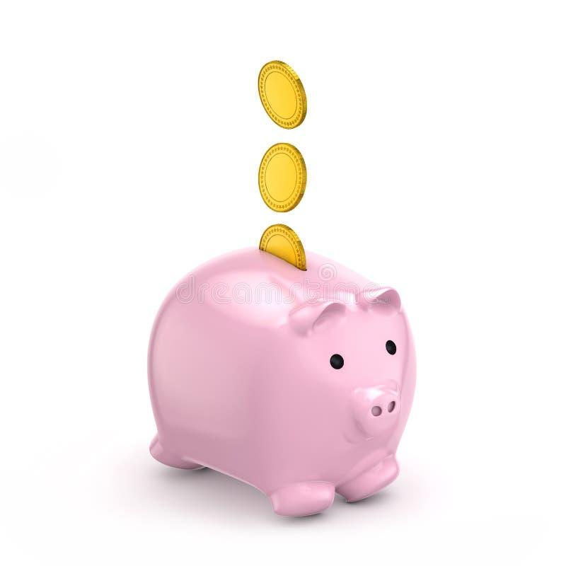 De dalende gouden muntstukken van het spaarvarken (besparingen) royalty-vrije illustratie