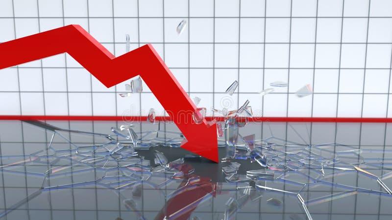 De dalende grafiek breekt de bodem royalty-vrije illustratie