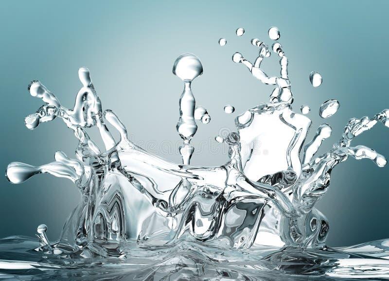 De daling splash.3d van het water stock illustratie