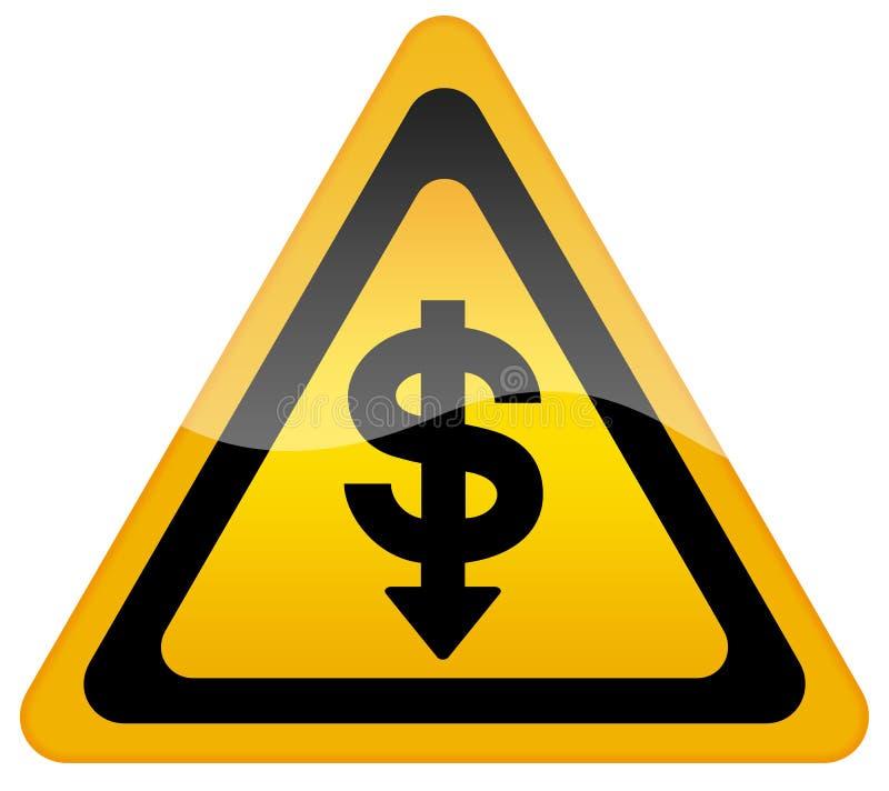 De daling van de dollar van uitwisseling stock illustratie