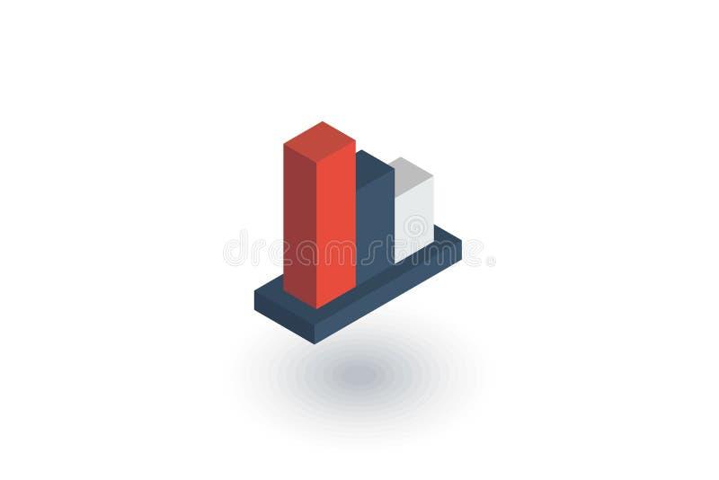 De daling van de grafiekgrafiek, van de de voorraadbar van de dalingsmarkt het isometrische vlakke pictogram 3d vector vector illustratie