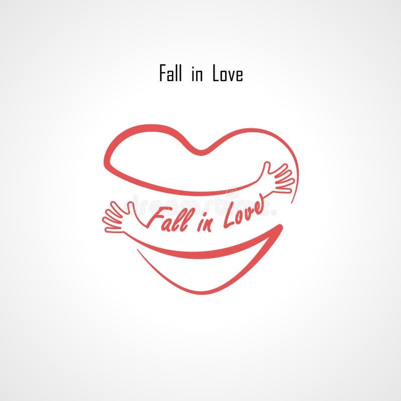 De daling van elementen van het Liefde de typografische ontwerp en de Rode hartvorm met hand omhelzen Omhelzingen en Liefde zelf  royalty-vrije illustratie