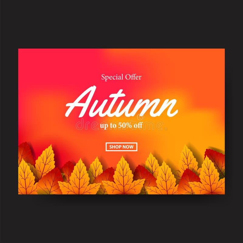De daling van de herfstbladeren met oranje achtergrond met witte teksten het malplaatje van de afficheverkoop Vliegermalplaatje V stock illustratie