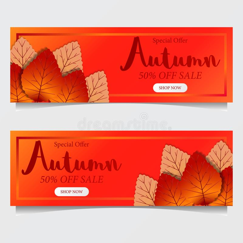 De daling van de herfstbladeren met rode oranje achtergrond het malplaatje van de verkoopaanbieding Het malplaatje van de affiche royalty-vrije stock foto's