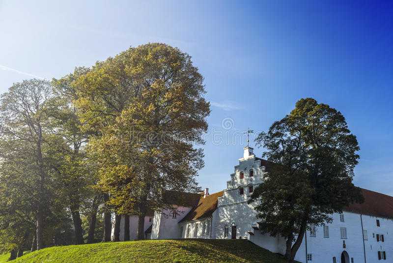 De daling van het Kasteeldenemarken van Aalborg stock afbeelding