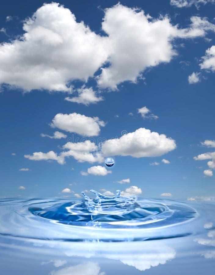 De daling van het water tegen blauwe hemel royalty-vrije stock afbeelding