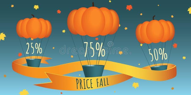 De daling van de pompoenprijs Ontwerp voor banner, vlieger, uitnodigings, affiche, website of groetkaart Vector illustratie stock illustratie