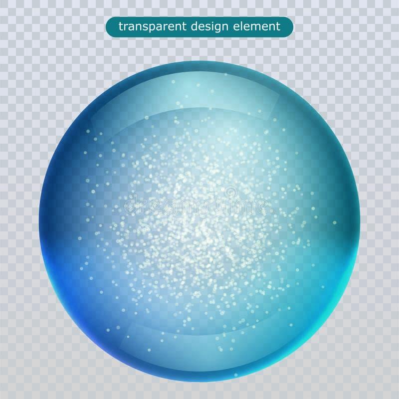 De daling van de waterregen op transparante achtergrond wordt geïsoleerd die Waterbel of de bal van de glasoppervlakte voor uw on vector illustratie