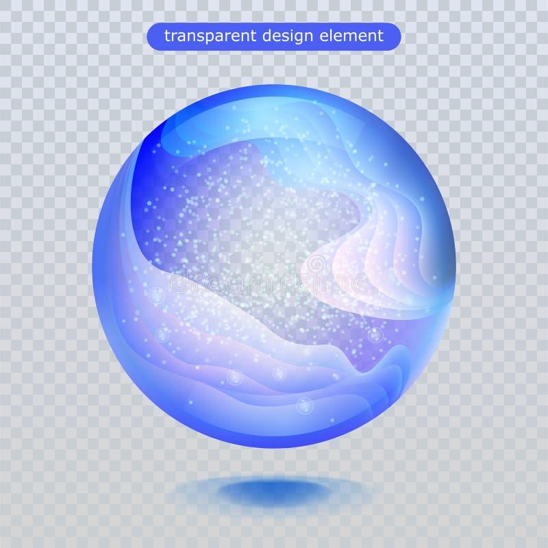 De daling van de waterregen op transparante achtergrond wordt geïsoleerd die Waterbel of de bal van de glasoppervlakte voor uw on stock illustratie