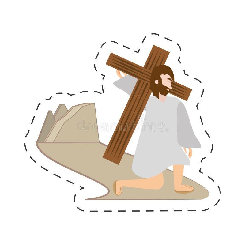de dalingen eerste keer van beeldverhaaljesus-christus - via crucispost stock illustratie