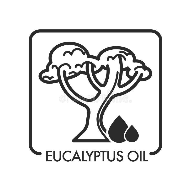 De dalingen en de boom van de eucalyptusolie met takken en gebladerte stock illustratie