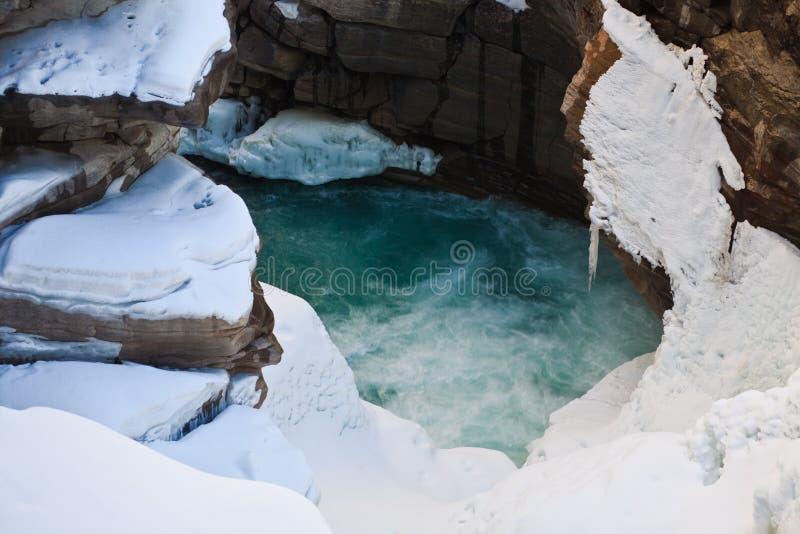 De Dalingen van Athabasca bij de Lente stock foto's