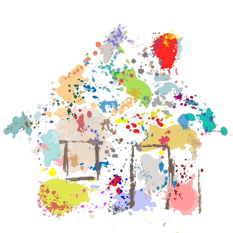 De Dalingen van de Verf van het huis ploeteren de Samenvatting van het Huis Grunge vector illustratie