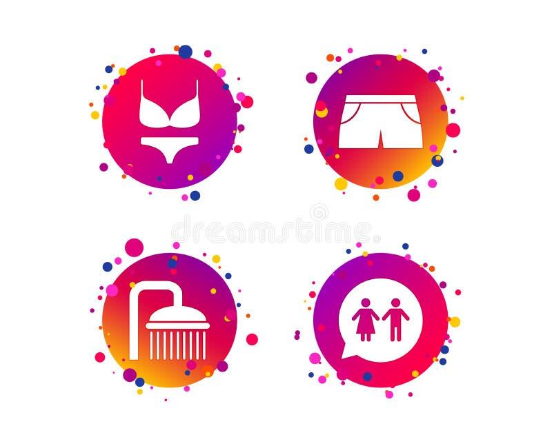 De dalingen van het douchewater en swimwear symbolen vector illustratie