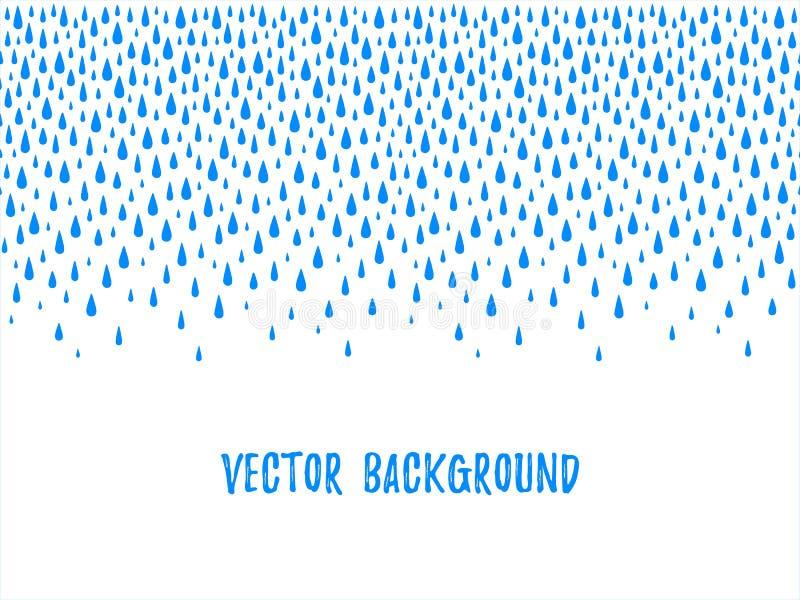 De dalingen van het de herfstwater, druppeltjes, regendruppels naadloze grens vector illustratie