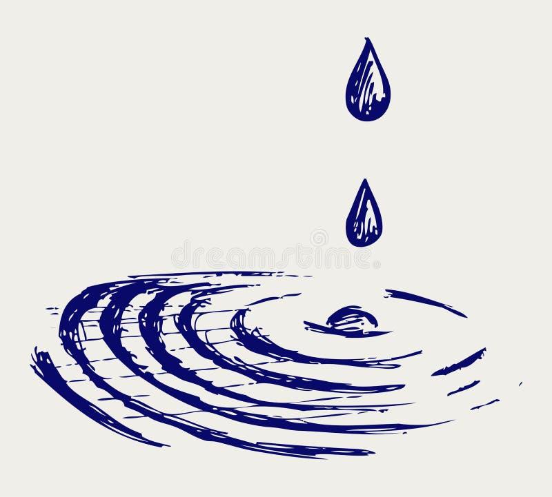 De dalingen van het water. De stijl van de krabbel royalty-vrije illustratie