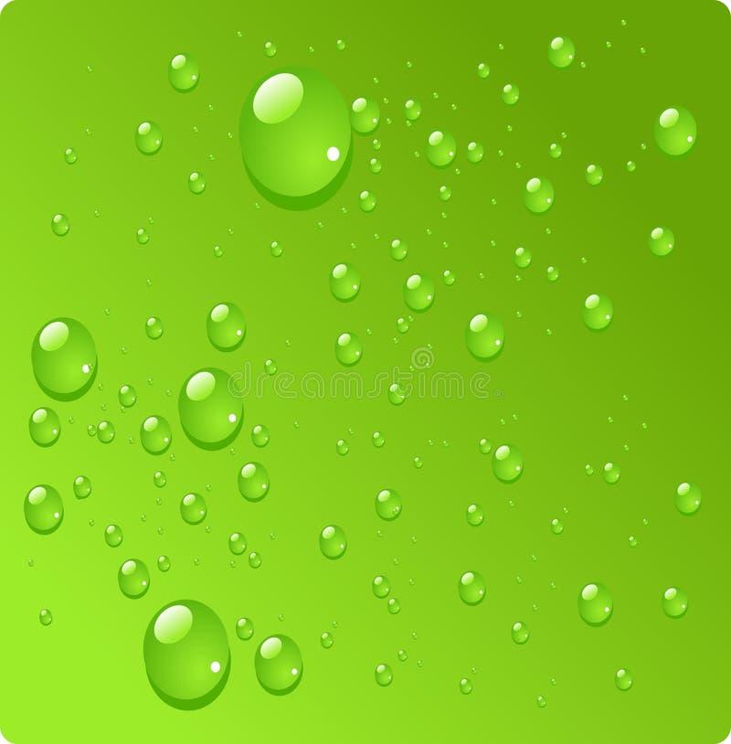 De dalingen van het water op groene achtergrond royalty-vrije illustratie