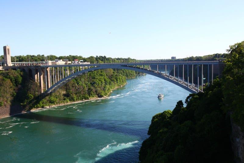 De Dalingen van Niagara van de regenboogbrug van New York, de V.S. stock fotografie