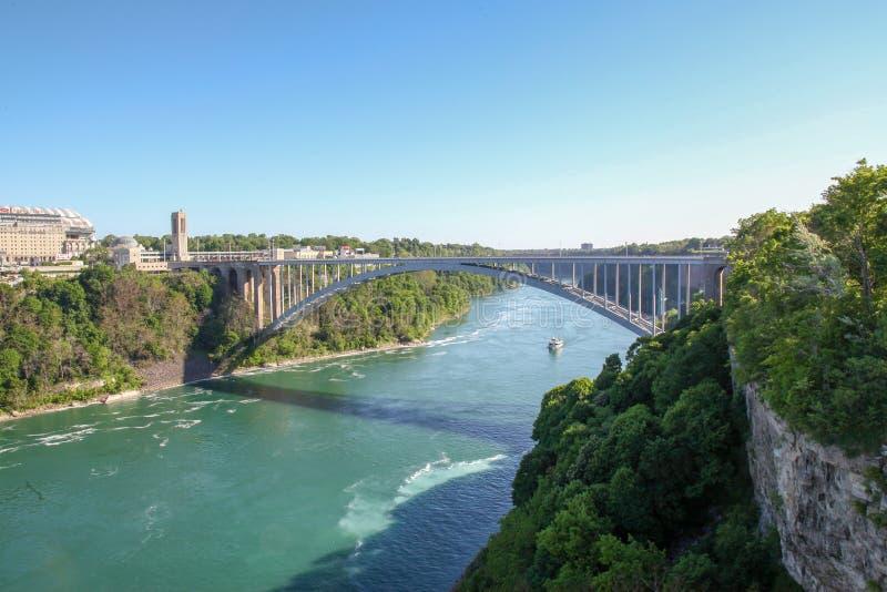 De Dalingen van Niagara van de regenboogbrug van New York, de V.S. stock afbeelding