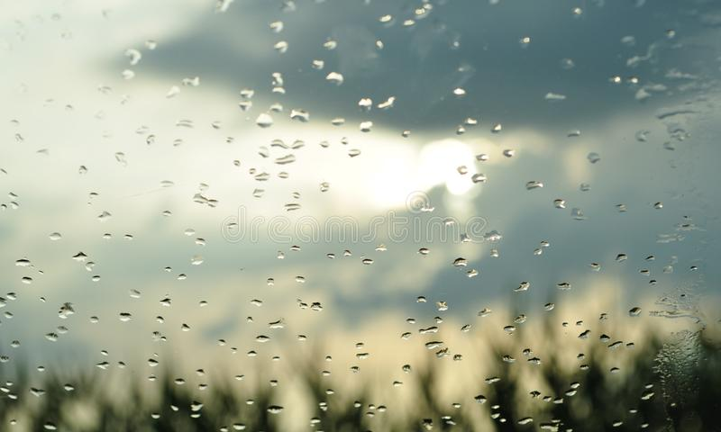 De dalingen van de regen op het glas royalty-vrije stock foto