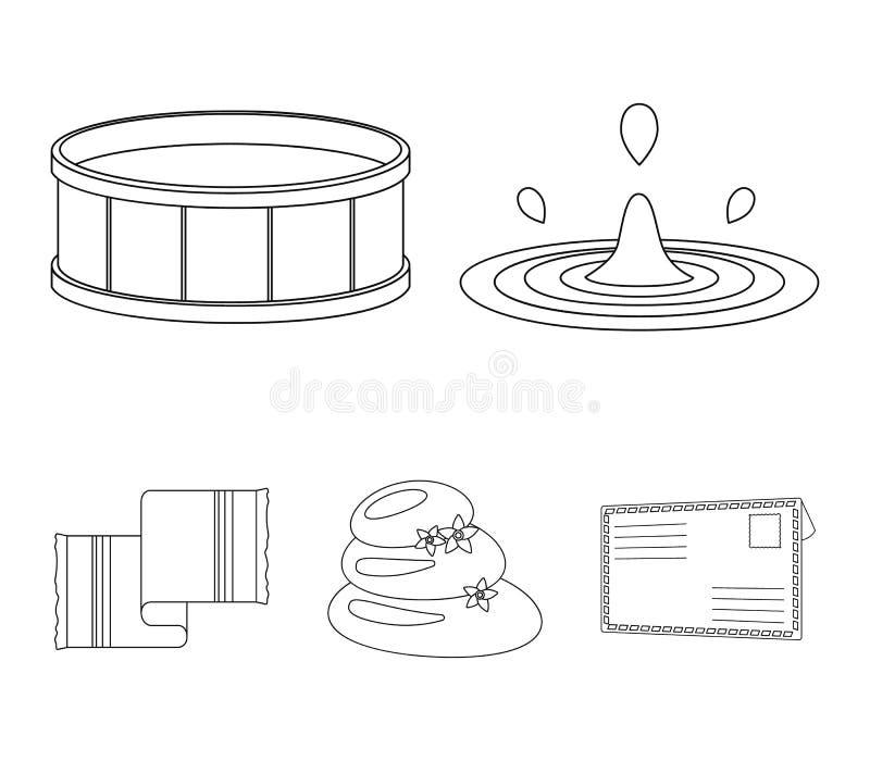 De dalingen van water, pool of bassin met warm water, kuuroordstenen met lotusbloem bloeit, handdoek voor de pool Kuuroord vastge vector illustratie