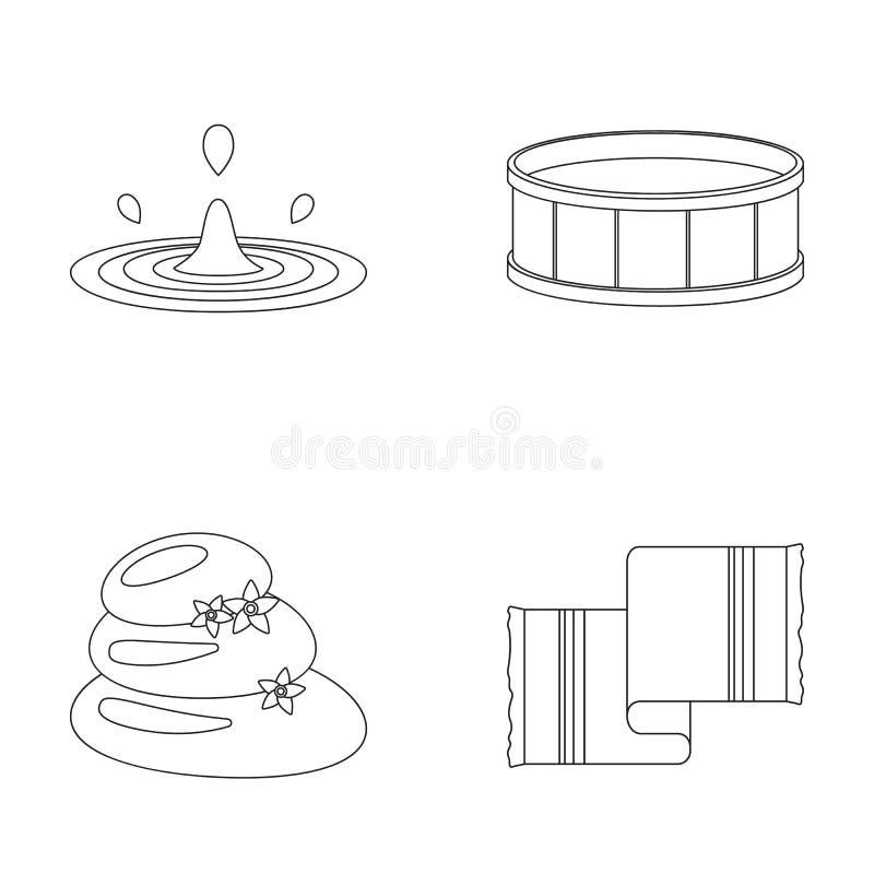 De dalingen van water, pool of bassin met warm water, kuuroordstenen met lotusbloem bloeit, handdoek voor de pool Kuuroord vastge royalty-vrije illustratie